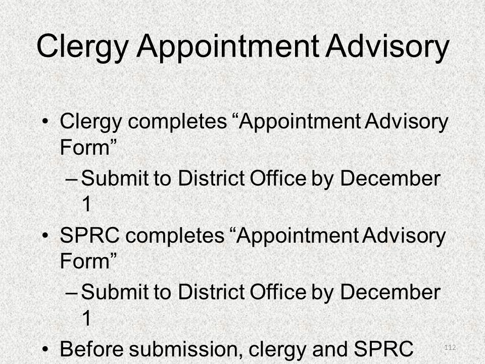 Clergy Appointment Advisory