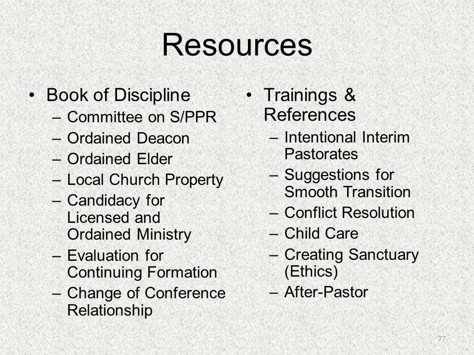 Resources Book of Discipline Trainings & References Committee on S/PPR