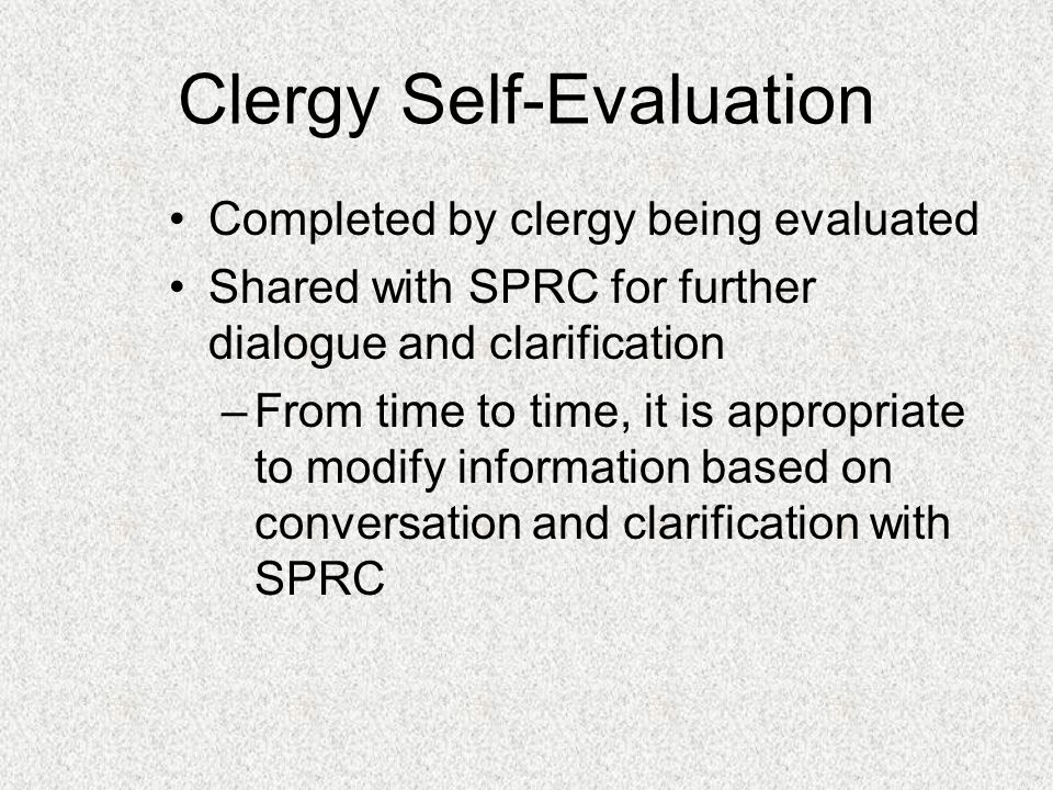 Clergy Self-Evaluation
