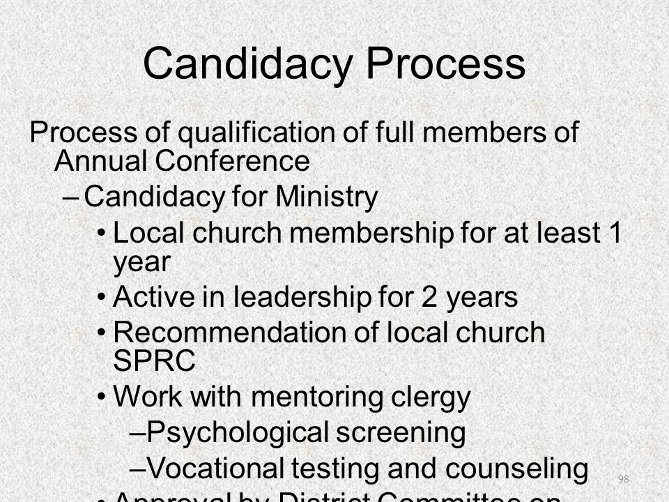 Candidacy Process Process of qualification of full members of Annual Conference. Candidacy for Ministry.