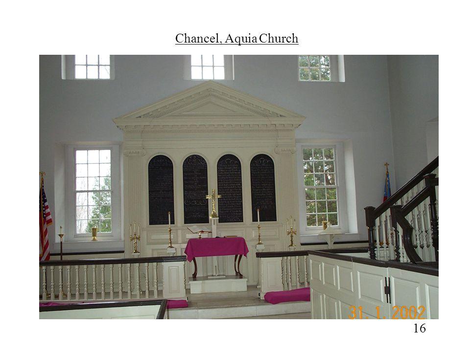 Chancel, Aquia Church Closer view of Chancel; original altar board ( reredos) finest example of 18th century altarpiece.