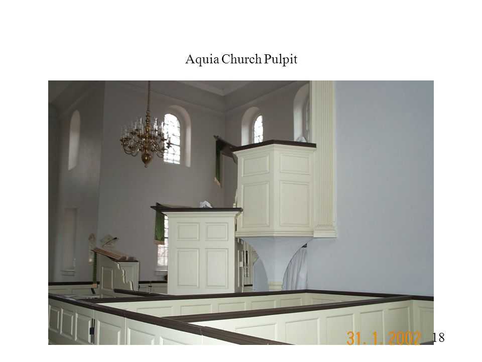 Aquia Church Pulpit Side View of pulpit shows wineglass design of support structure. Not common in most designs, side panels would extend to floor.