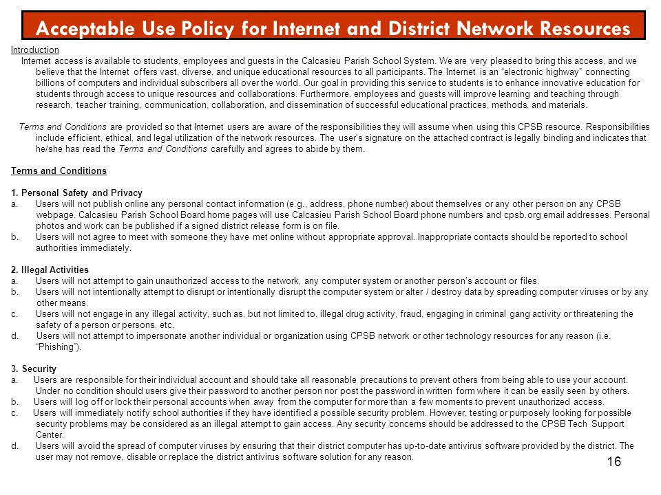 Acceptable Use Policy for Internet and District Network Resources