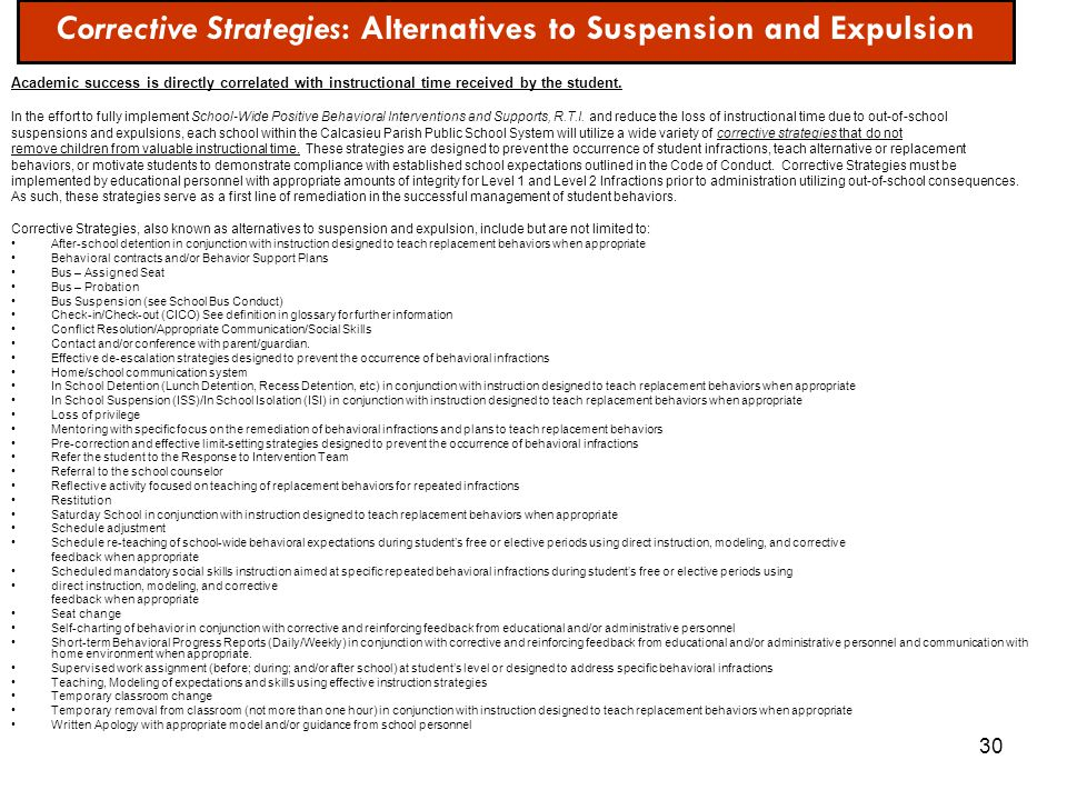 Corrective Strategies: Alternatives to Suspension and Expulsion