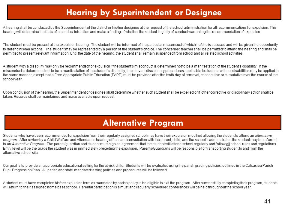 Hearing by Superintendent or Designee