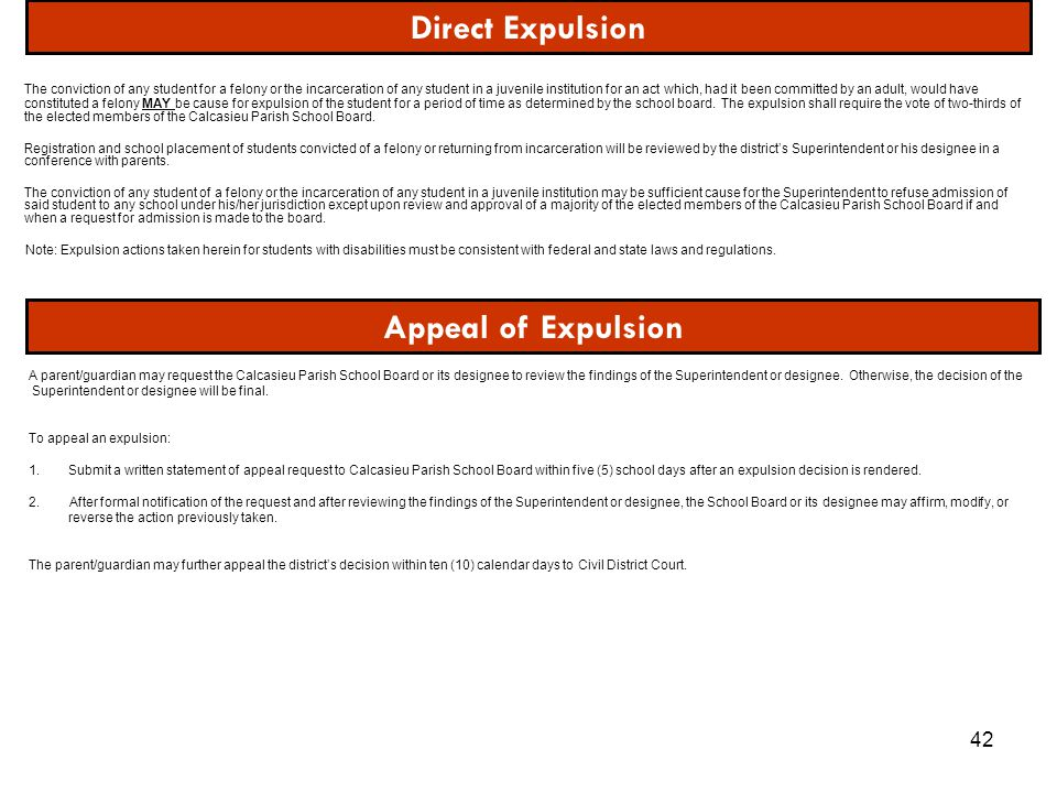 Direct Expulsion Appeal of Expulsion
