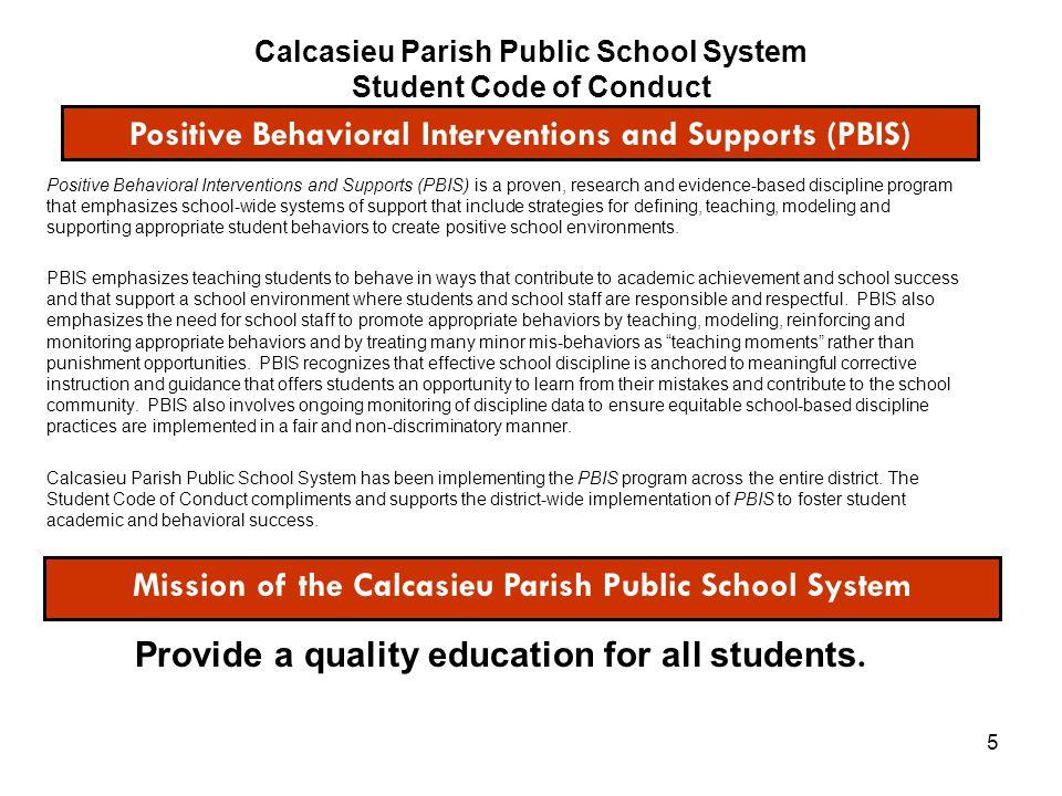 Calcasieu Parish Public School System Student Code of Conduct