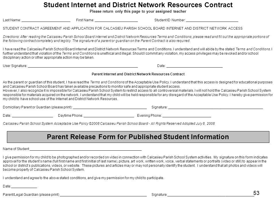 Student Internet and District Network Resources Contract