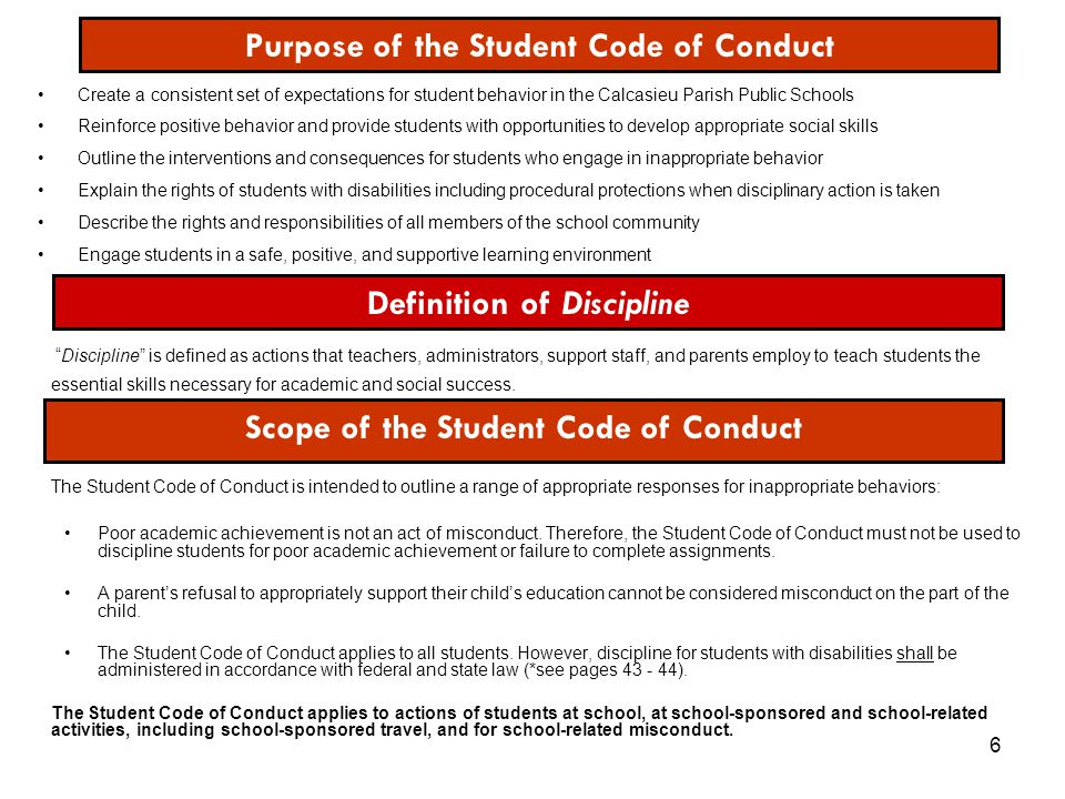 Purpose of the Student Code of Conduct