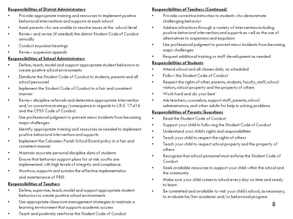 Responsibilities of District Administrators