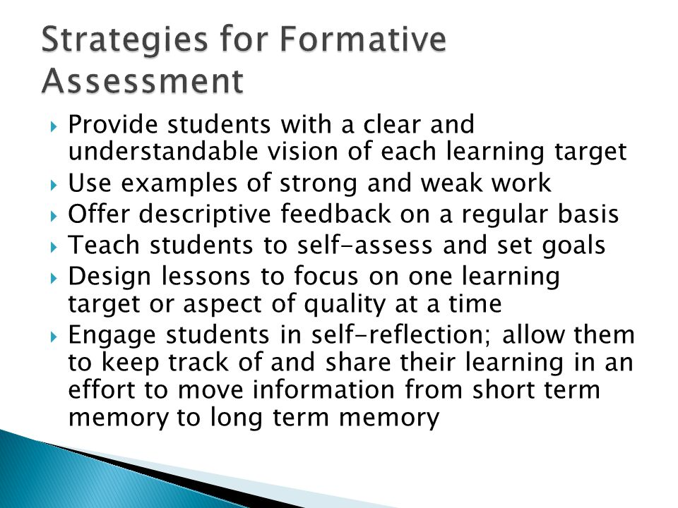 Strategies for Formative Assessment
