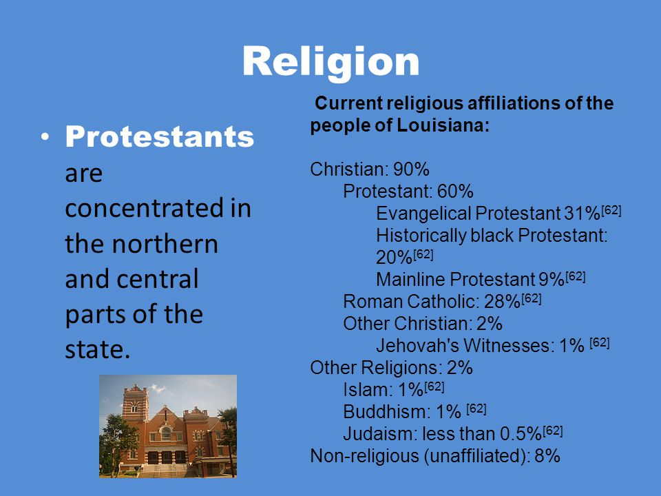 Religion Current religious affiliations of the people of Louisiana: Christian: 90% Protestant: 60%