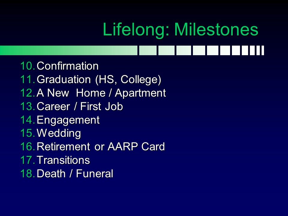 Lifelong: Milestones Confirmation Graduation (HS, College)
