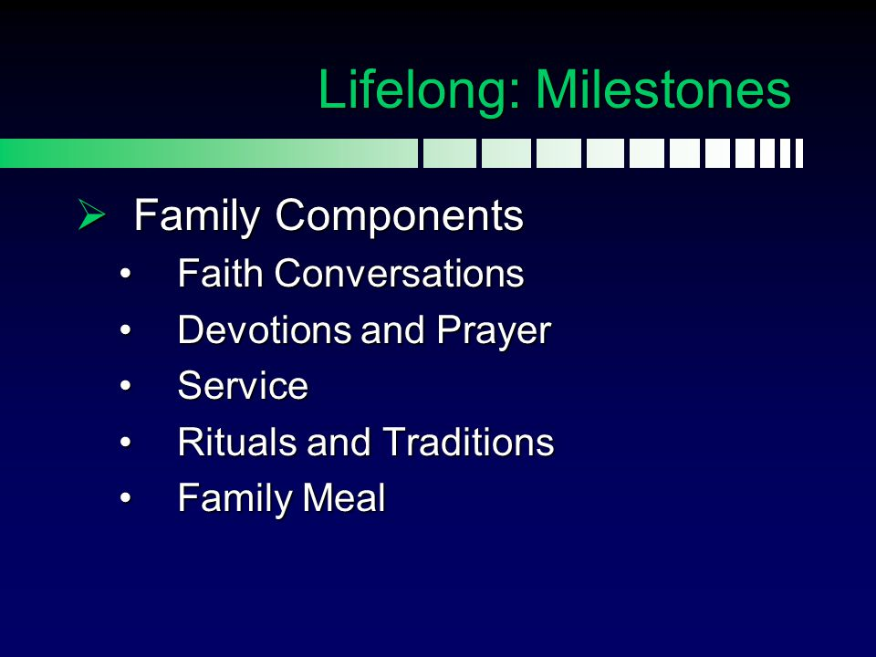 Lifelong: Milestones Family Components Faith Conversations