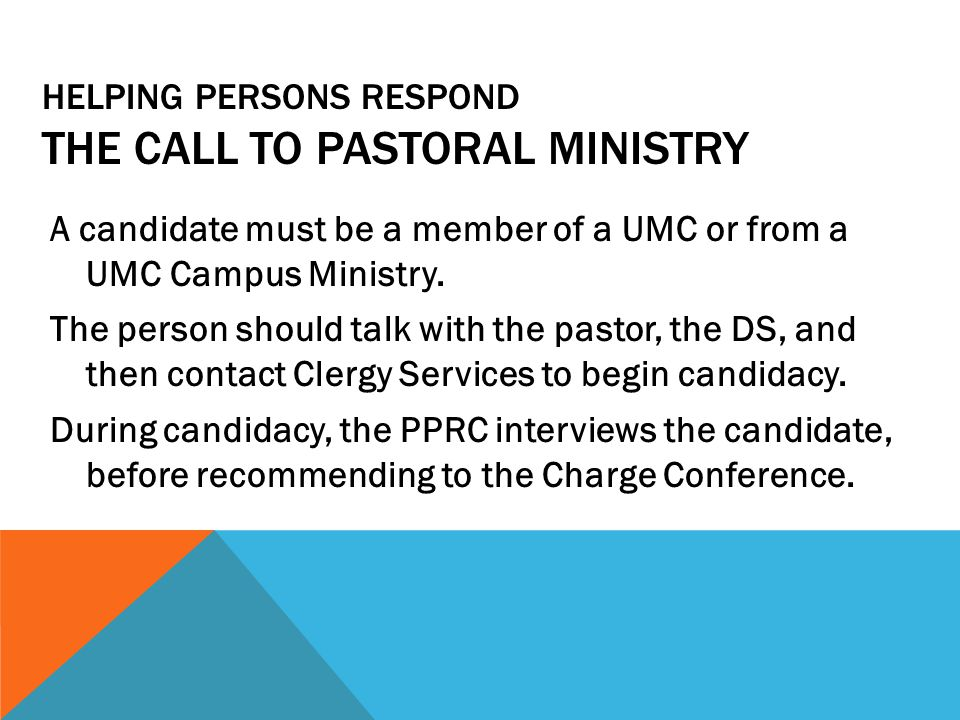 Helping Persons Respond The Call to Pastoral Ministry