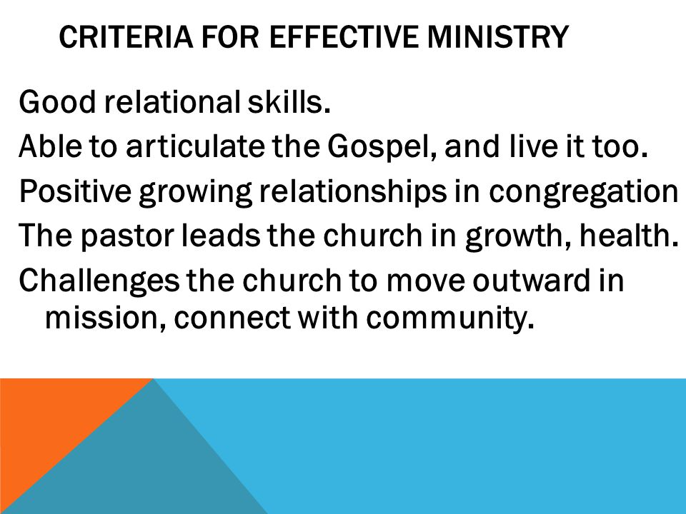 Criteria for Effective Ministry