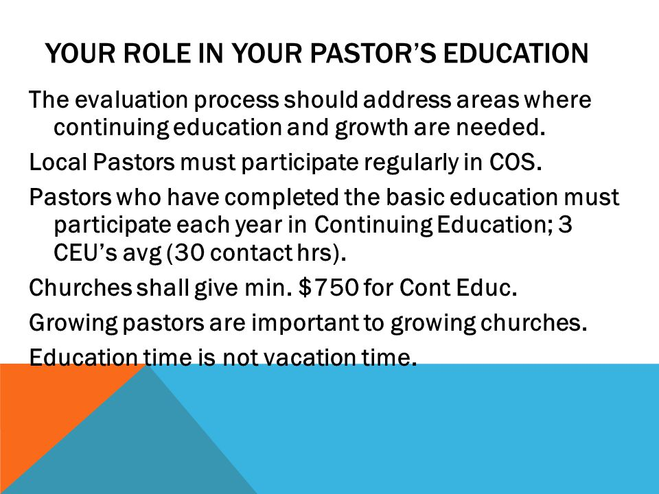 Your Role in Your Pastor's Education
