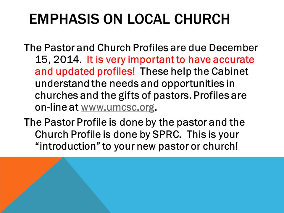 Emphasis on Local Church