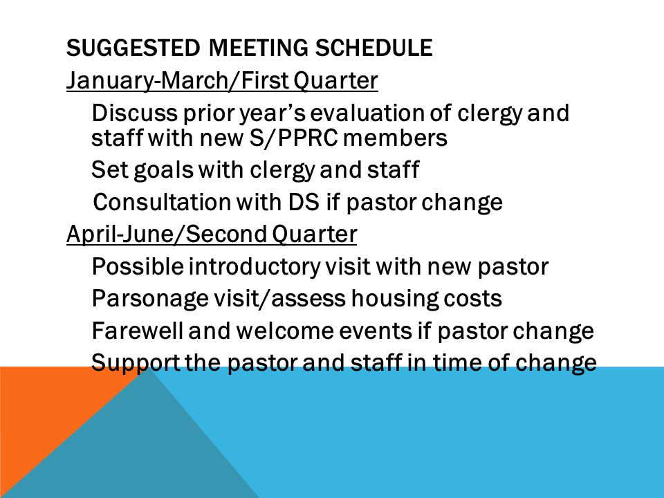 Suggested Meeting Schedule