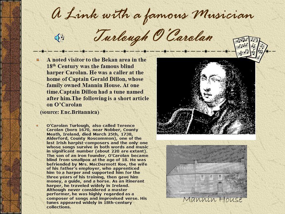 A Link with a famous Musician Turlough O'Carolan
