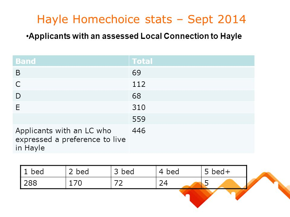Hayle Homechoice stats – Sept 2014