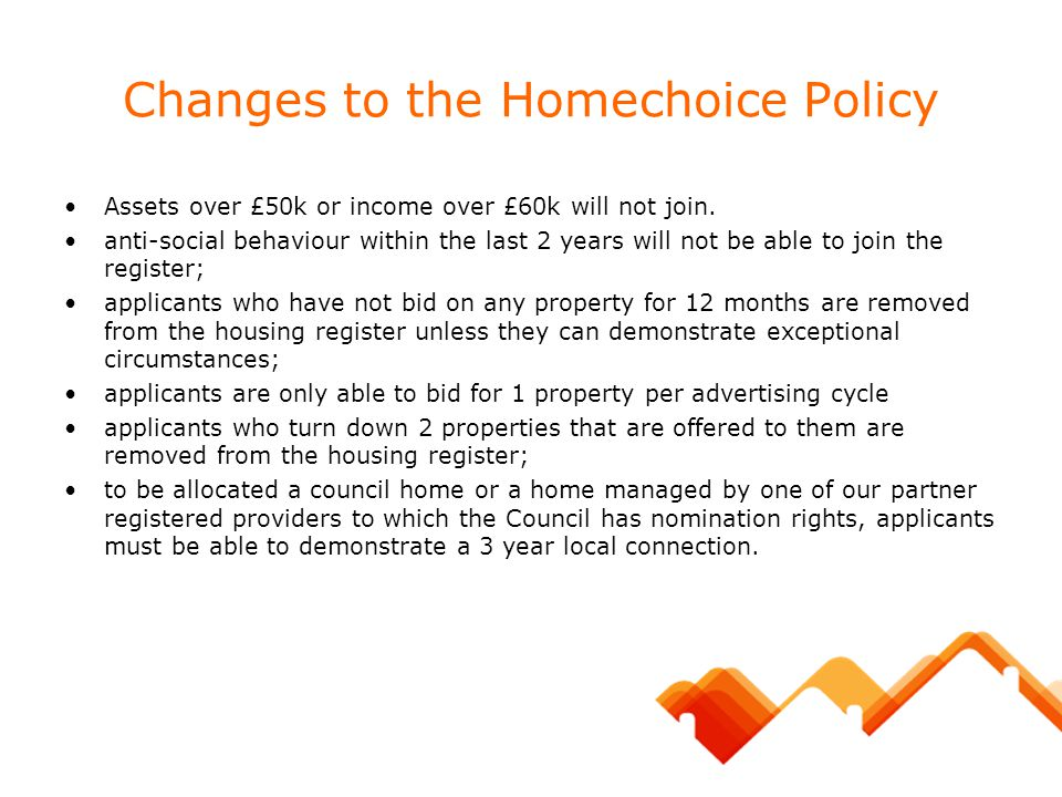 Changes to the Homechoice Policy