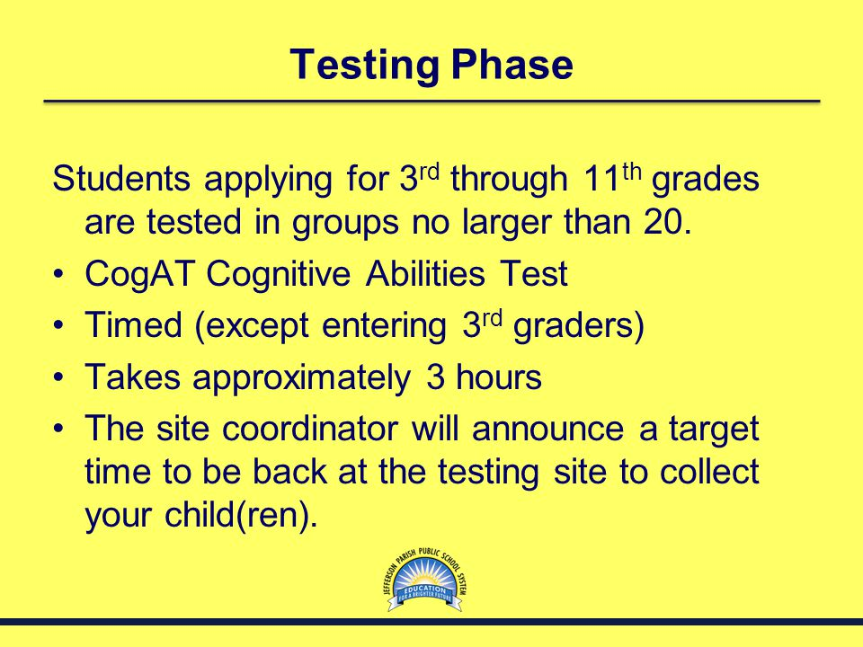 Testing Phase Students applying for 3rd through 11th grades are tested in groups no larger than 20.