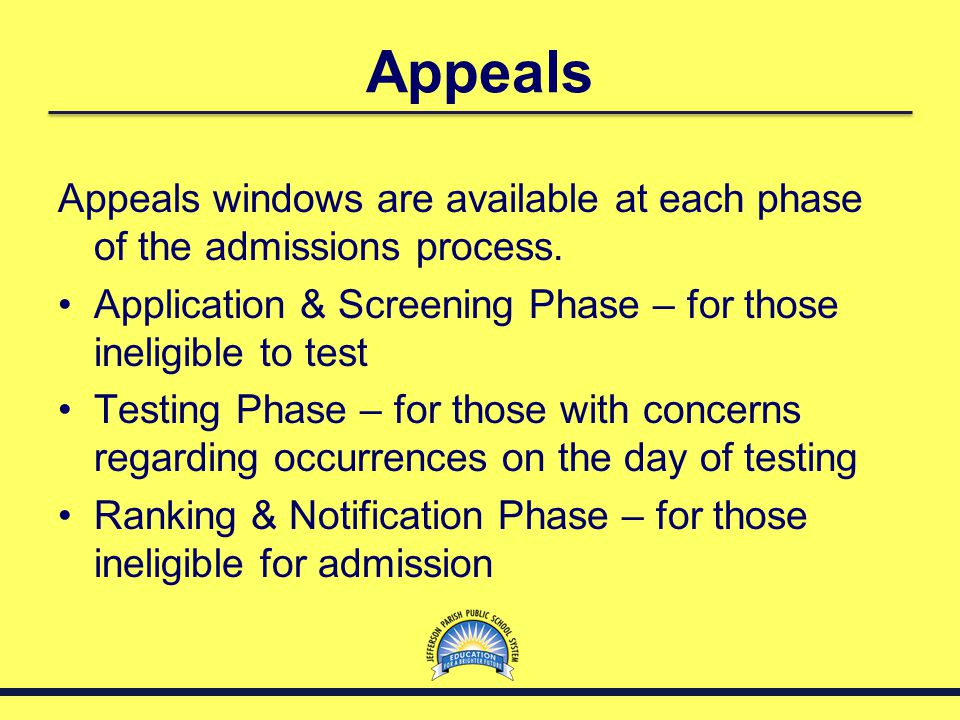 Appeals Appeals windows are available at each phase of the admissions process. Application & Screening Phase – for those ineligible to test.