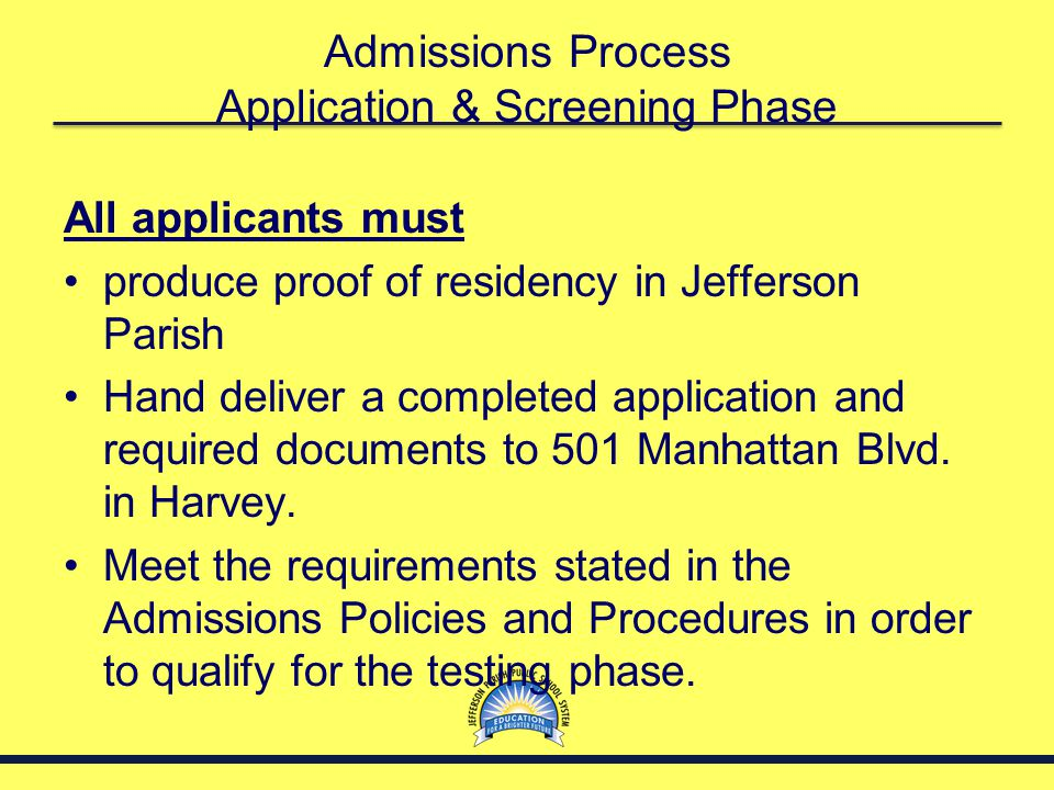 Admissions Process Application & Screening Phase