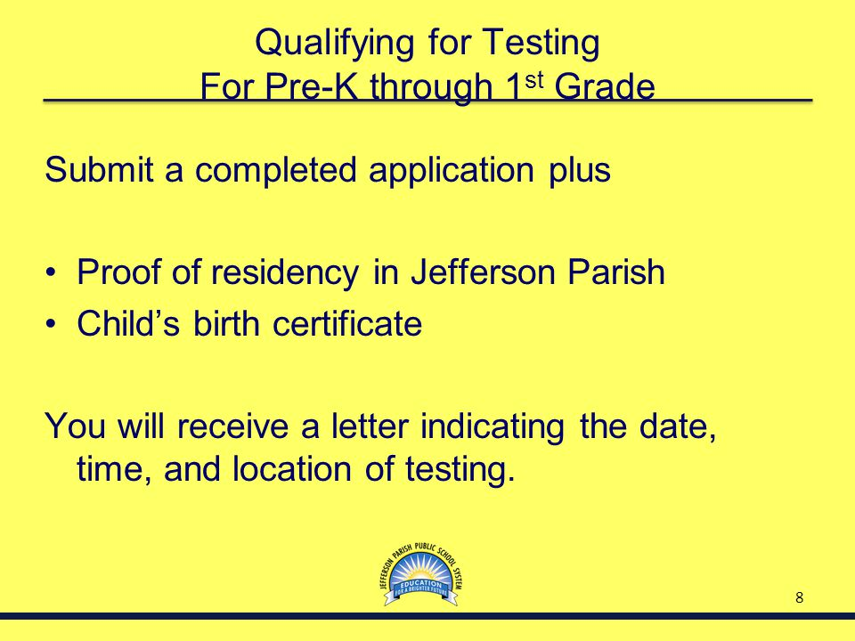 Qualifying for Testing For Pre-K through 1st Grade