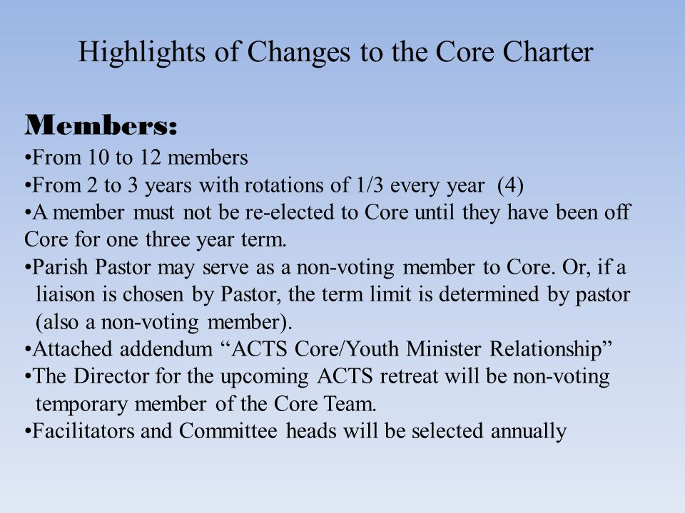 Highlights of Changes to the Core Charter