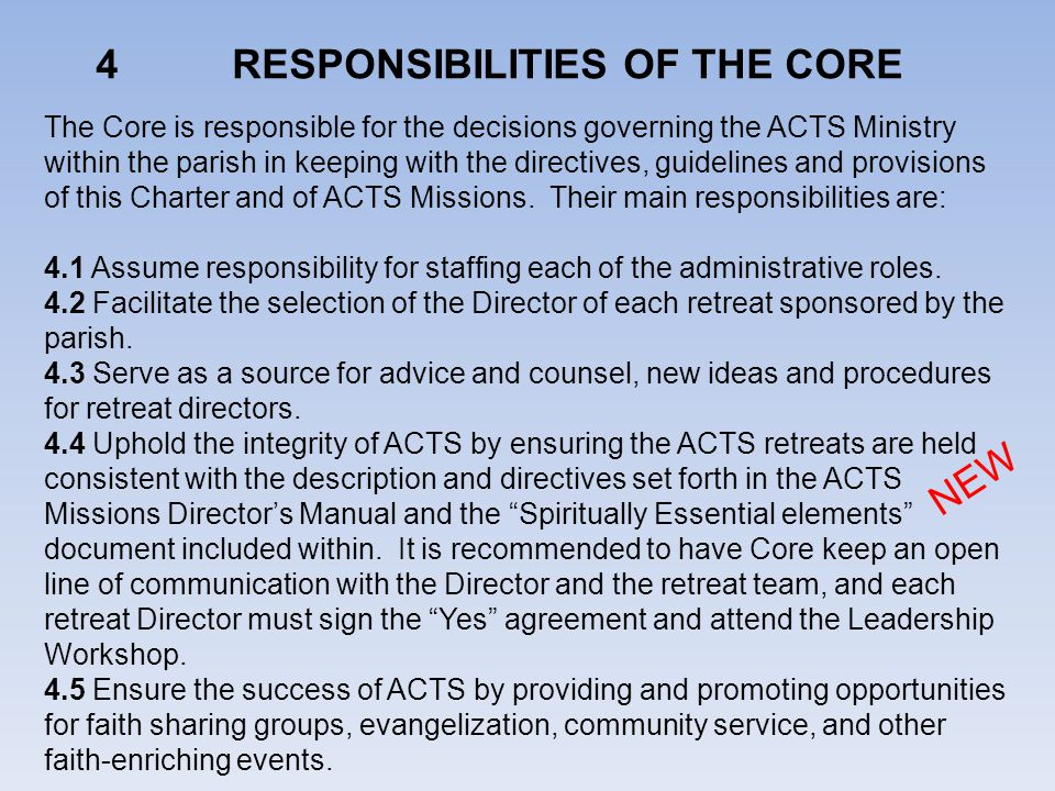 4 RESPONSIBILITIES OF THE CORE