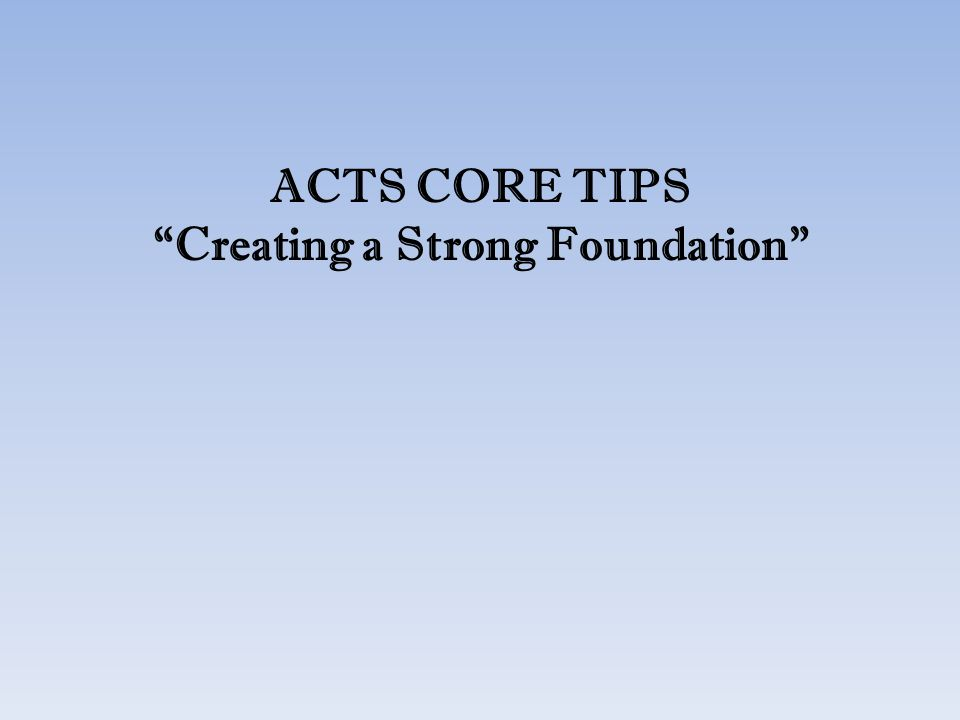 Creating a Strong Foundation