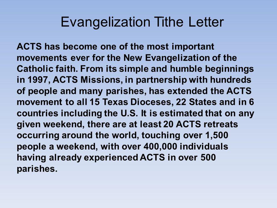 Evangelization Tithe Letter