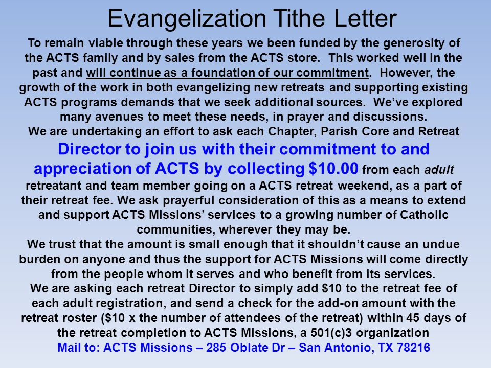 Mail to: ACTS Missions – 285 Oblate Dr – San Antonio, TX 78216