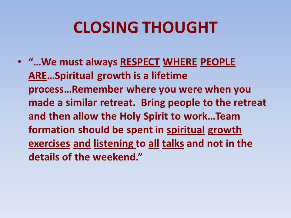 CLOSING THOUGHT