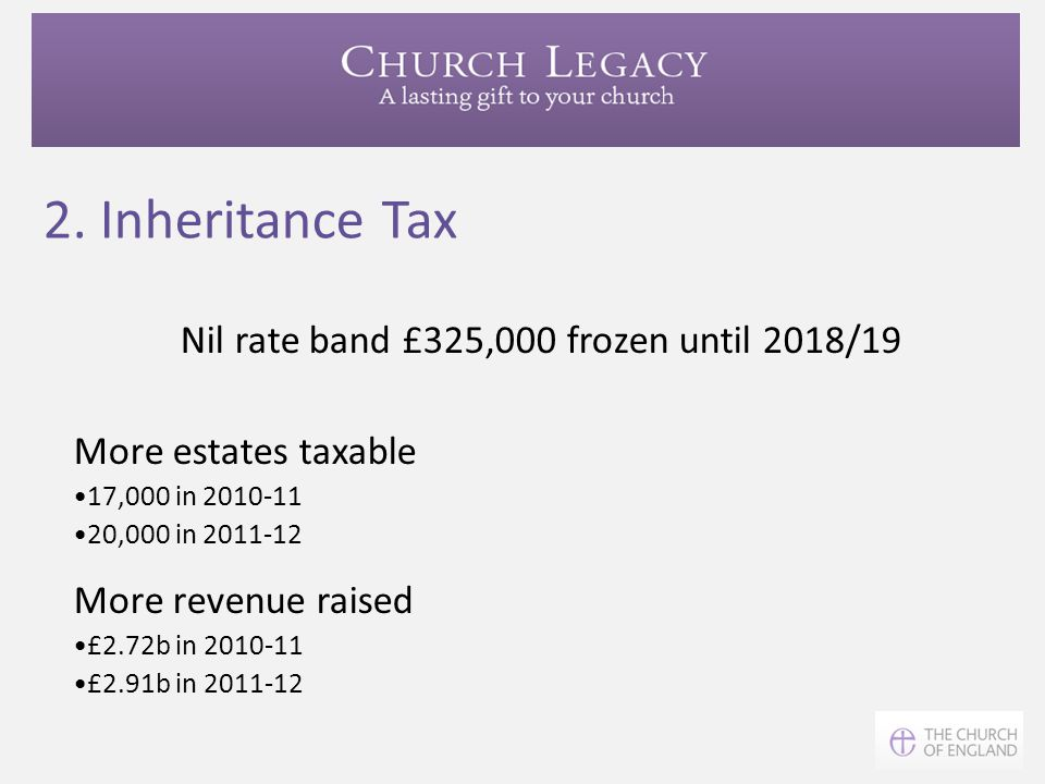 Nil rate band £325,000 frozen until 2018/19