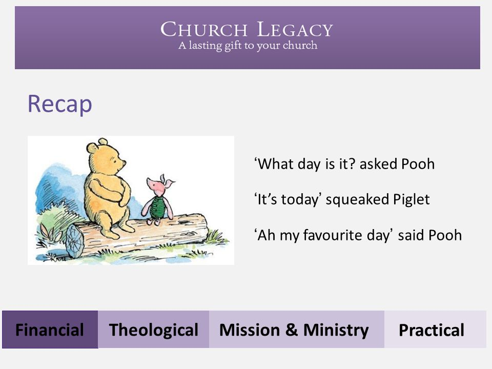 Recap Financial Theological Mission & Ministry Practical