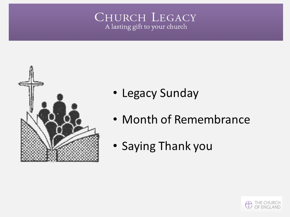 Legacy Sunday Month of Remembrance Saying Thank you
