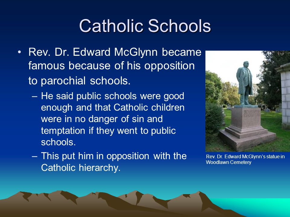 Catholic Schools Rev. Dr. Edward McGlynn became famous because of his opposition to parochial schools.