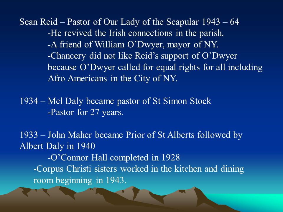Sean Reid – Pastor of Our Lady of the Scapular 1943 – 64