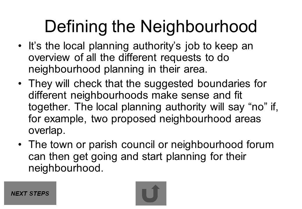 Defining the Neighbourhood
