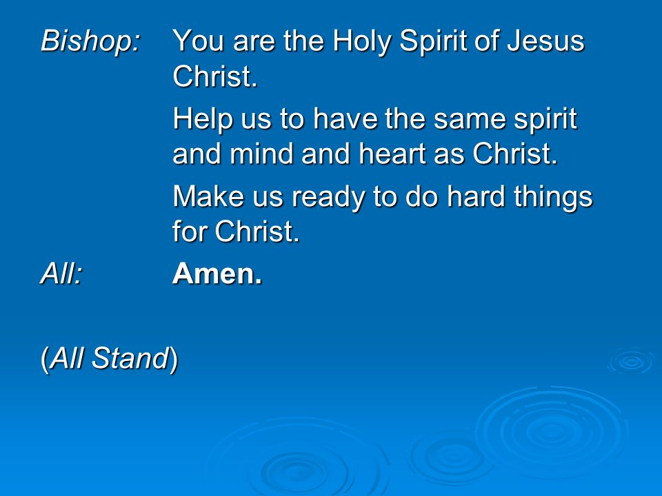 Bishop: You are the Holy Spirit of Jesus Christ.