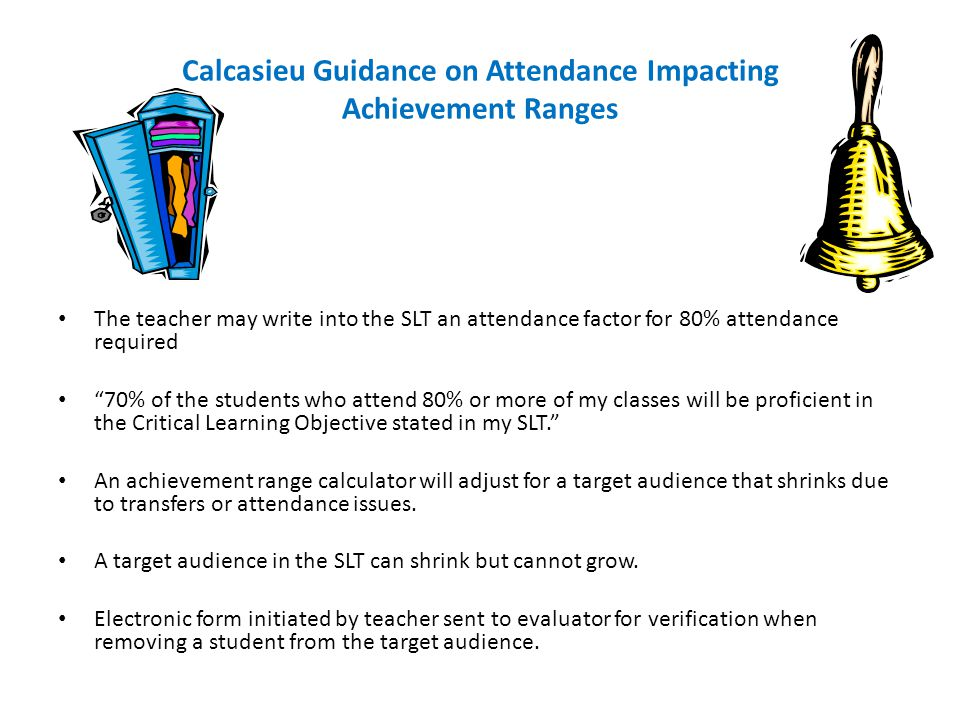 Calcasieu Guidance on Attendance Impacting Achievement Ranges