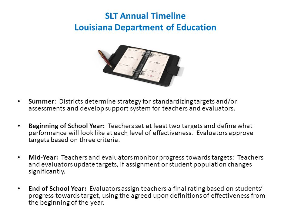 SLT Annual Timeline Louisiana Department of Education