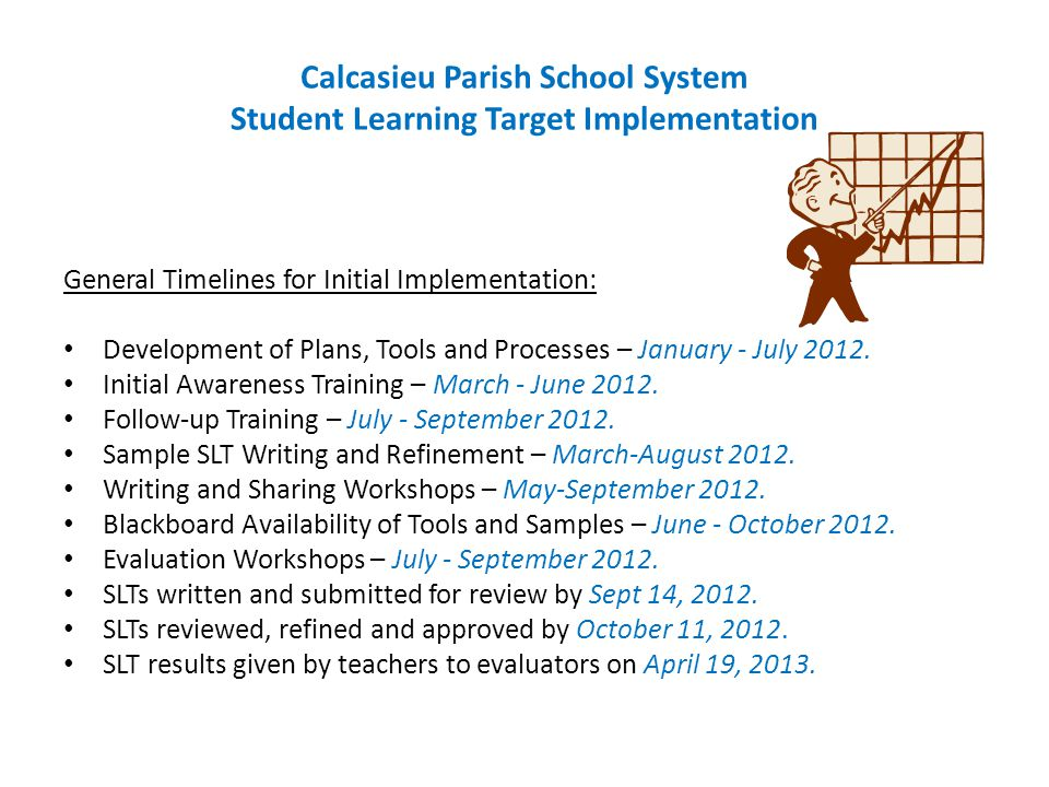 Calcasieu Parish School System Student Learning Target Implementation