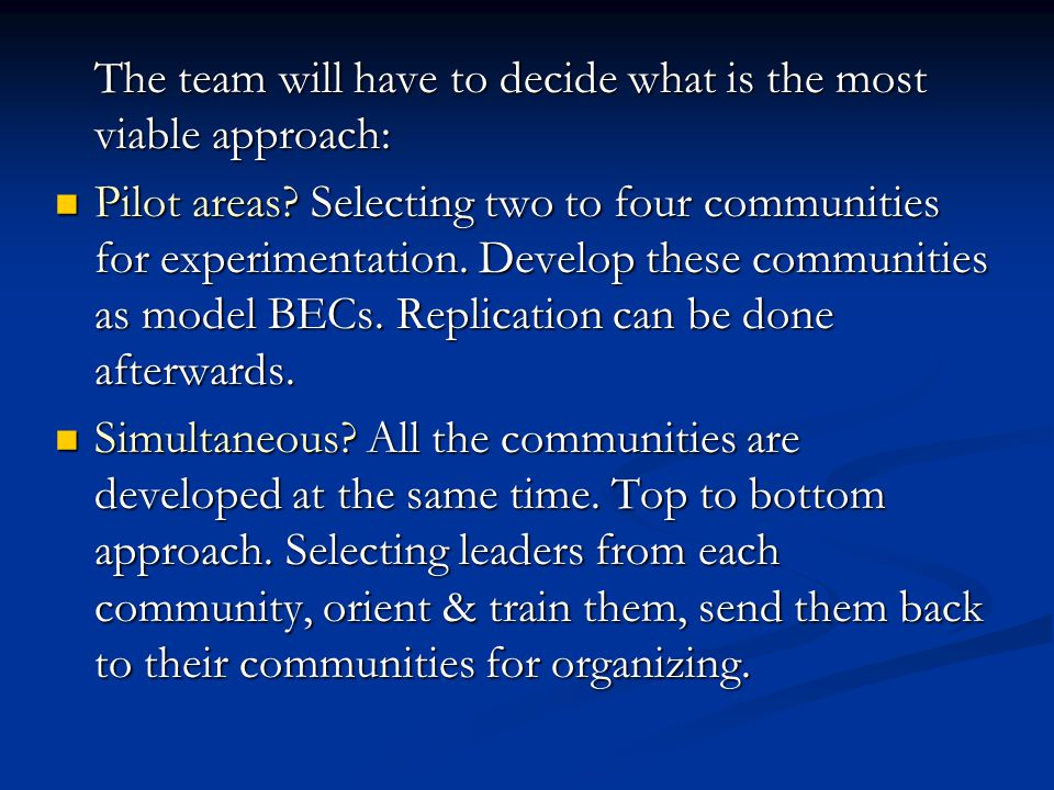 The team will have to decide what is the most viable approach: