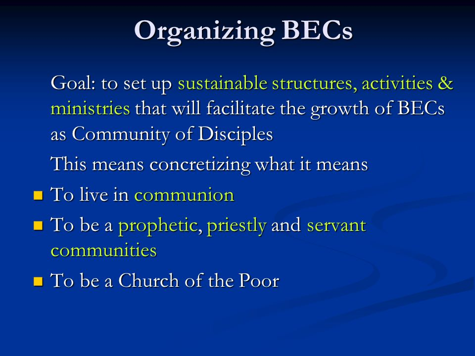 Organizing BECs Goal: to set up sustainable structures, activities & ministries that will facilitate the growth of BECs as Community of Disciples.