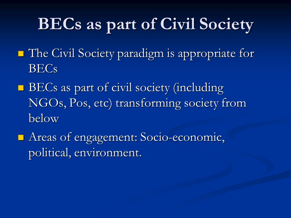 BECs as part of Civil Society
