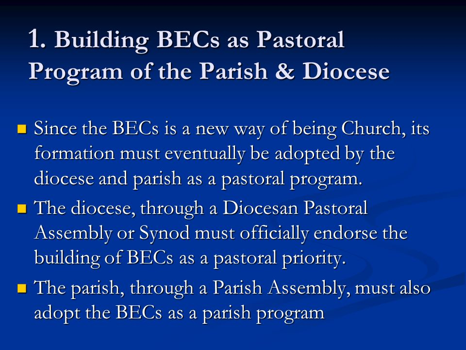 1. Building BECs as Pastoral Program of the Parish & Diocese